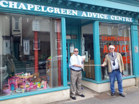 Photograph of Chairman John Housley presenting a cheque to Mick Appleby from Chapeltgreen Advice Centre