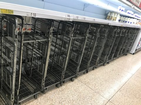 Empty supermarket shelves due to Coronvirus pandemic