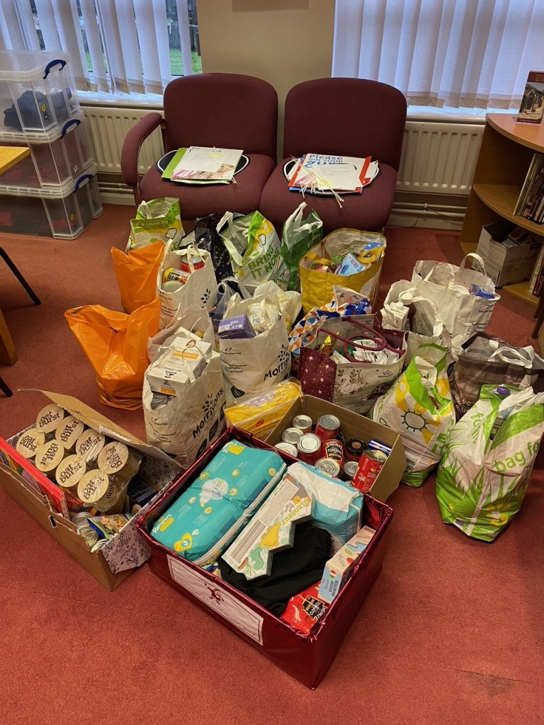 Photograph of the most recent donations to the Food bank