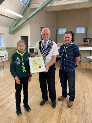 Chairman presenting Chairmans award with Scout leader